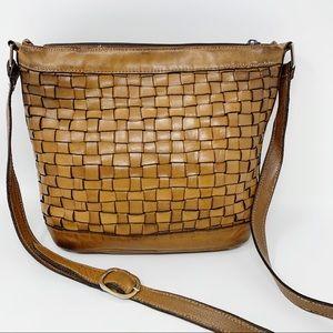 VTG Ganson Tan Woven Leather Crossbody Bag